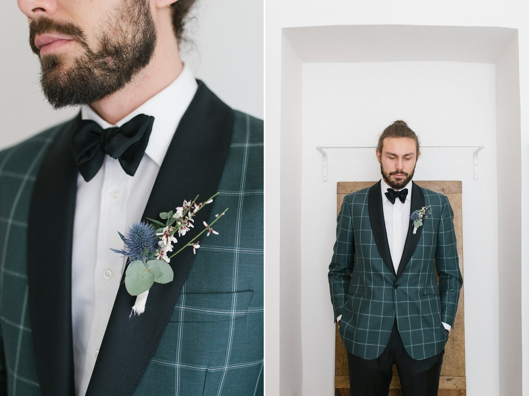 Winter Groom in Emerald Green Dinner Jacket