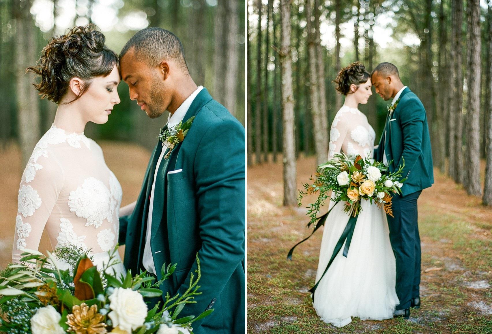 Emerald Green and Gold Woodland Wedding Inspiration