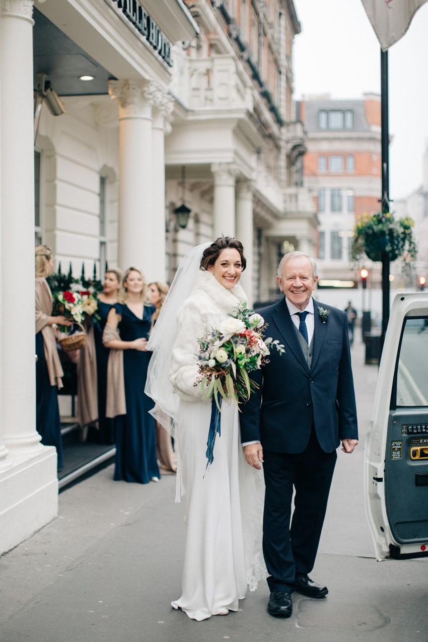 English Winter Bride & Father