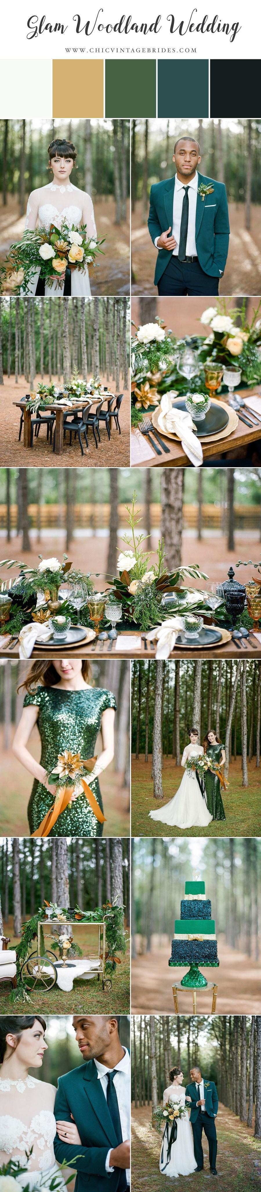 Glam Green & Gold Woodland Wedding
