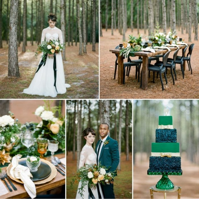 Glamorous Emerald Green & Gold Holiday Wedding Inspiration