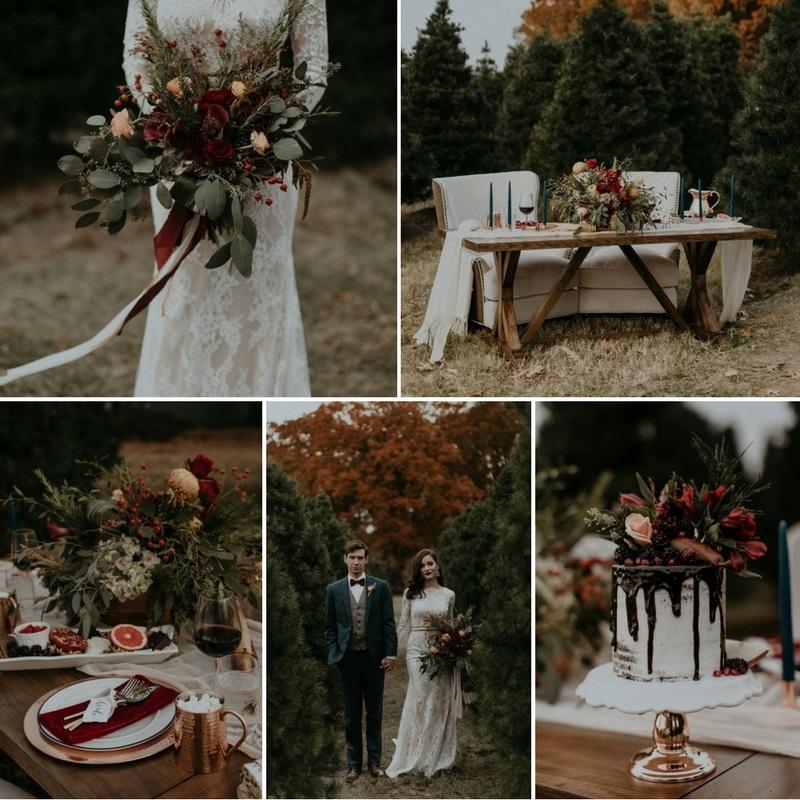 Modern Vintage Christmas Tree Farm Wedding Inspiration