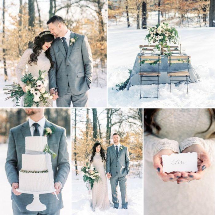 Snowy Winter Wedding Inspiration in Neutrals
