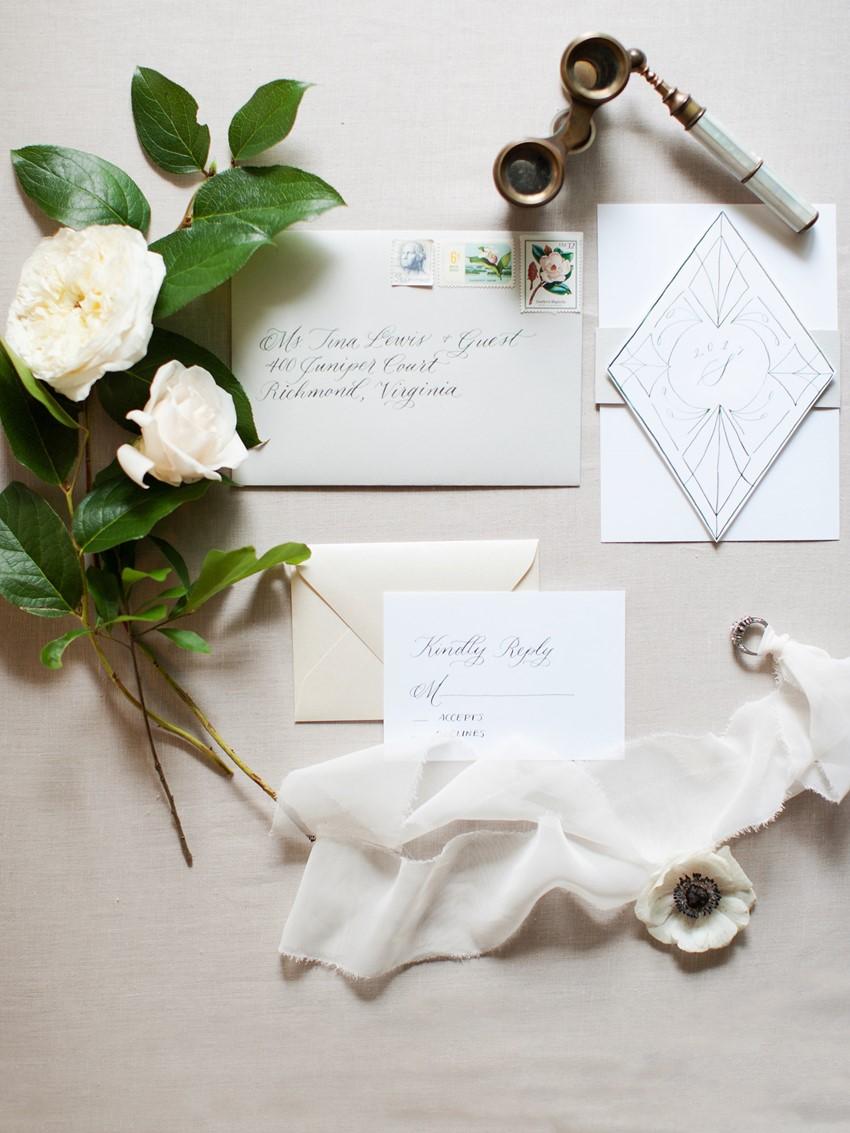 Calligraphy Art Deco Wedding Stationery