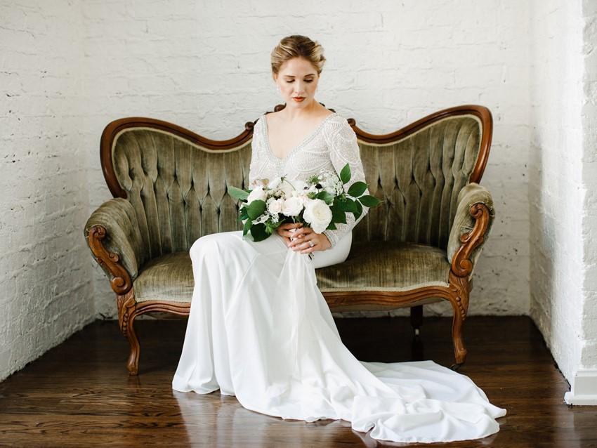 Modern Vintage Bride on a Velvet Sofa