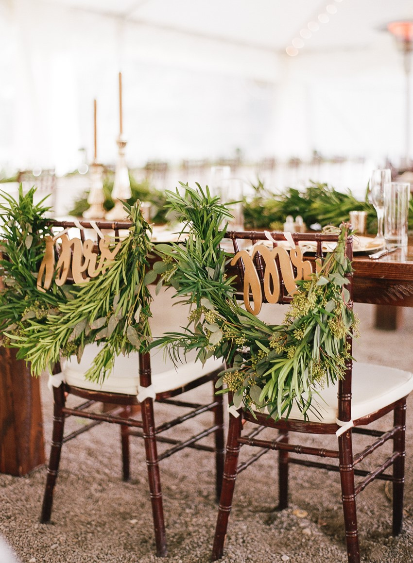Greenery Wedding Chair Decor & Signs