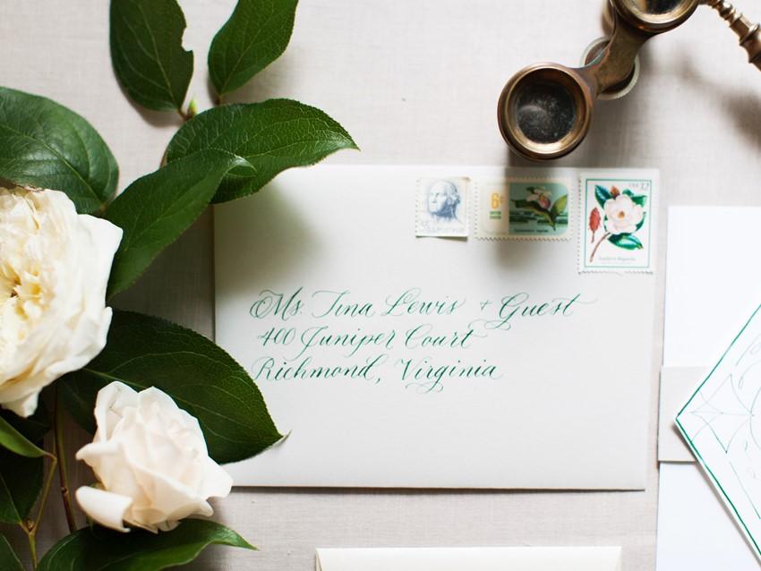 Calligraphy Art Deco Wedding Invitation