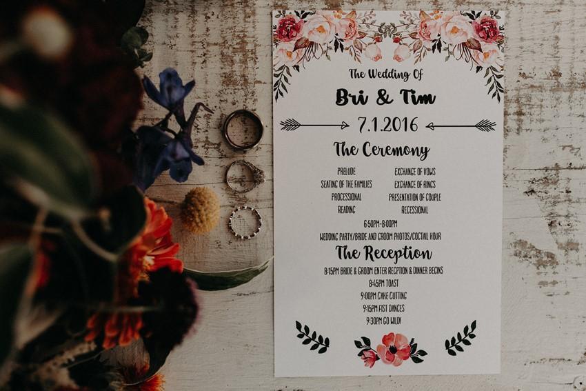 Garden Wedding Programme