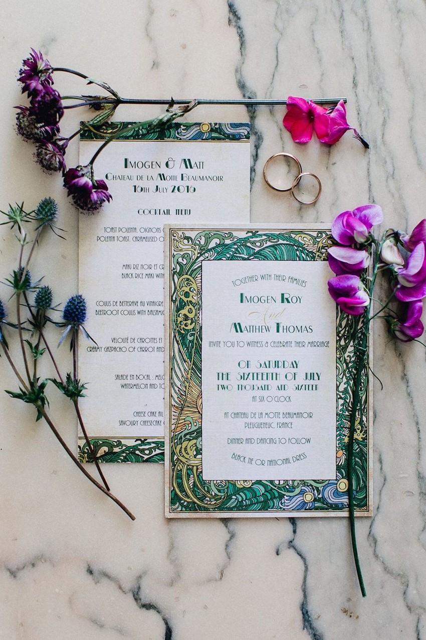 Art Nouveau Painted Wedding invite