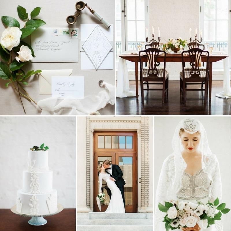 Modern Art Deco Wedding Inspiration at The Historic Post Office in Hampton