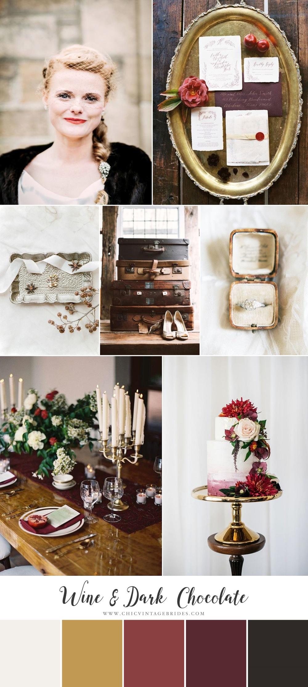 Wine & Dark Chocolate - Winter Wedding Inspiration in Rich Red & Brown