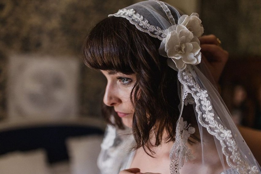Vintage Bride in Juliet Cap Veil