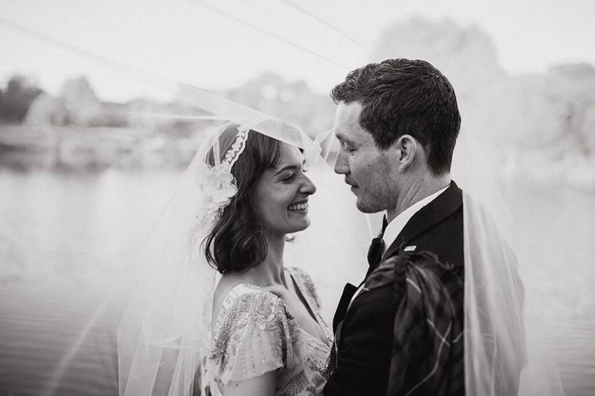 Black & White Bride & Groom Wedding Photo