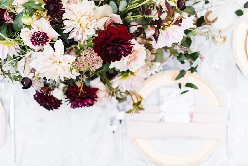 Burgundy & Blush Wedding Centerpiece