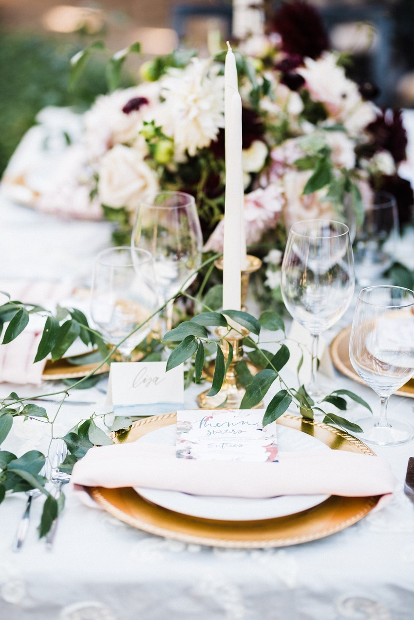 Burgundy & Blush Wedding Table