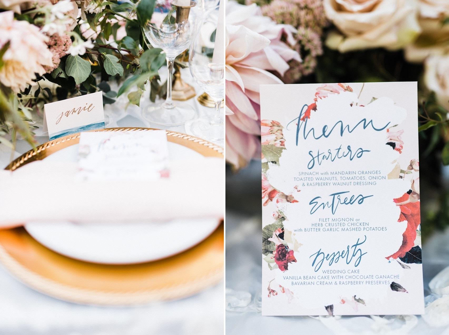 Painted Wedding Menu