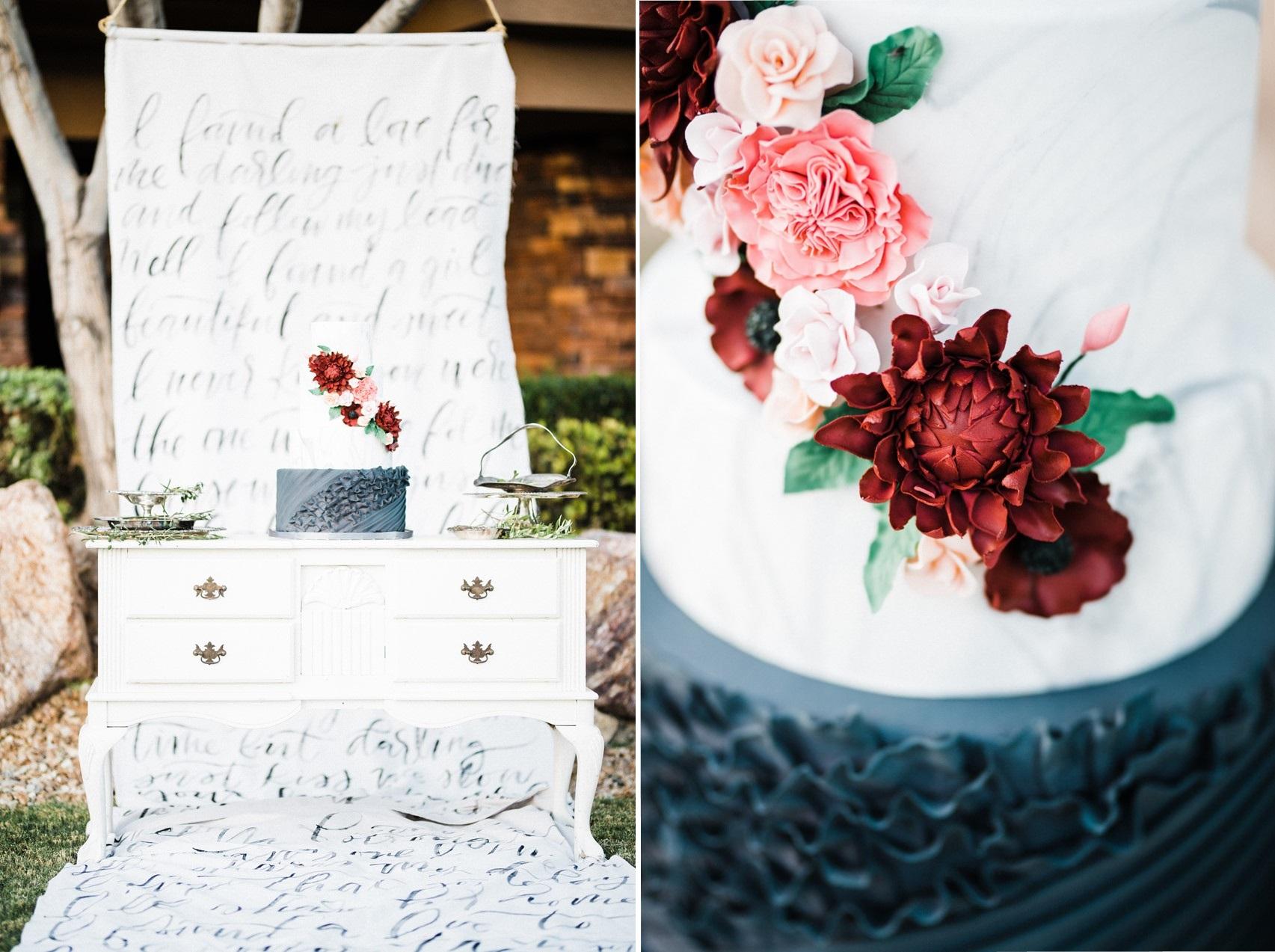 Floral & Ruffled Wedding Cake