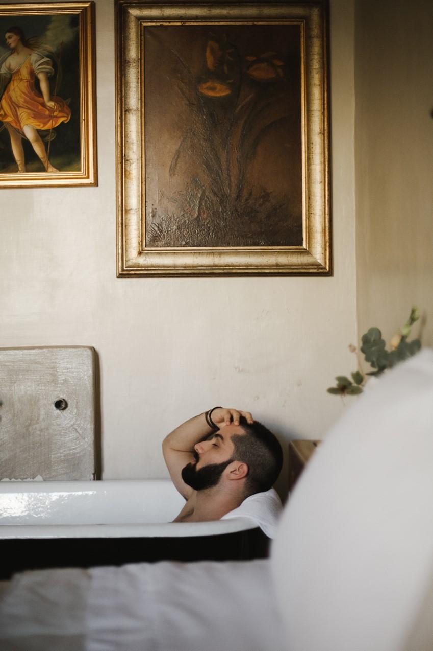 Groom in a Vintage Bath
