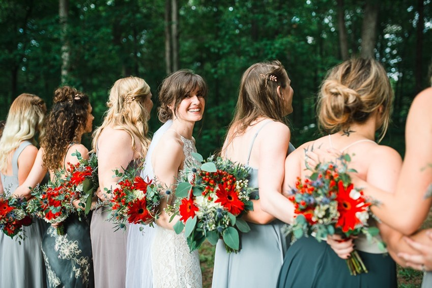 Bride & Mismatched Bridesmaids