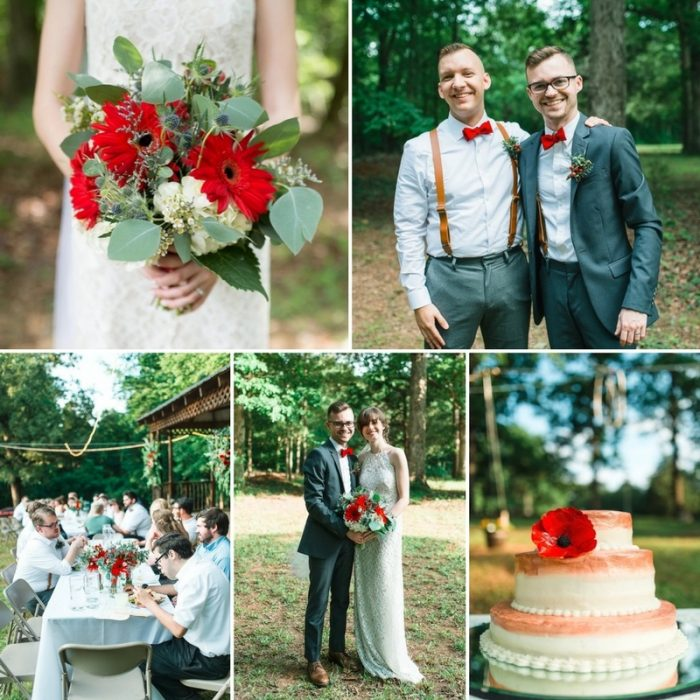 A Sweet Vintage Inspired Wedding with Pops of Red