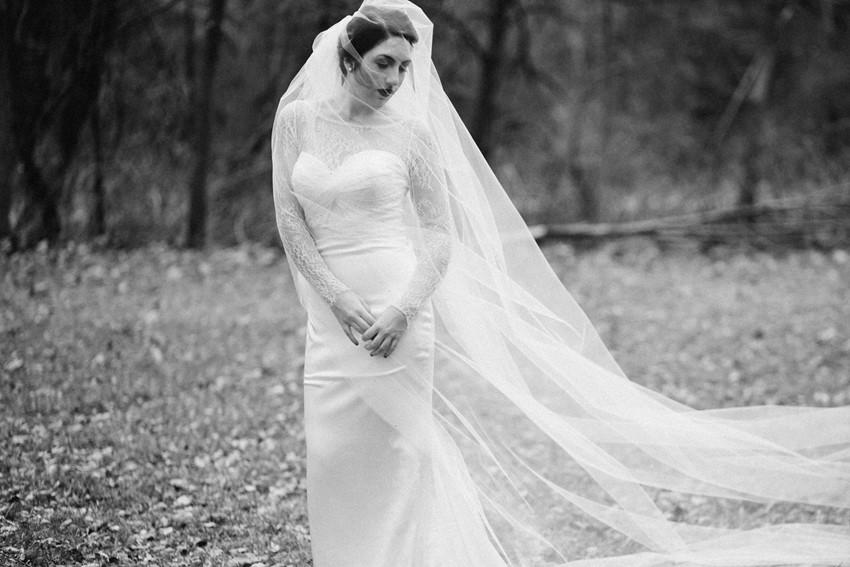 Black & White Bridal Portrait