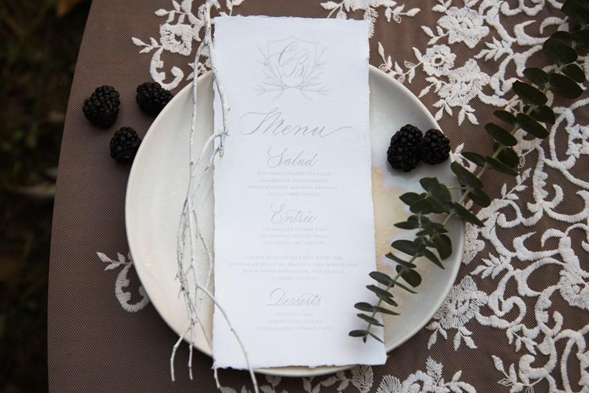 Calligraphy Winter Wedding menu