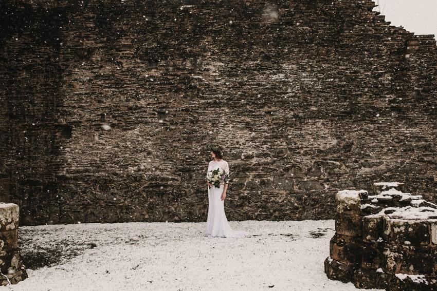 Snowy Bridal Shoot at An English Abbey