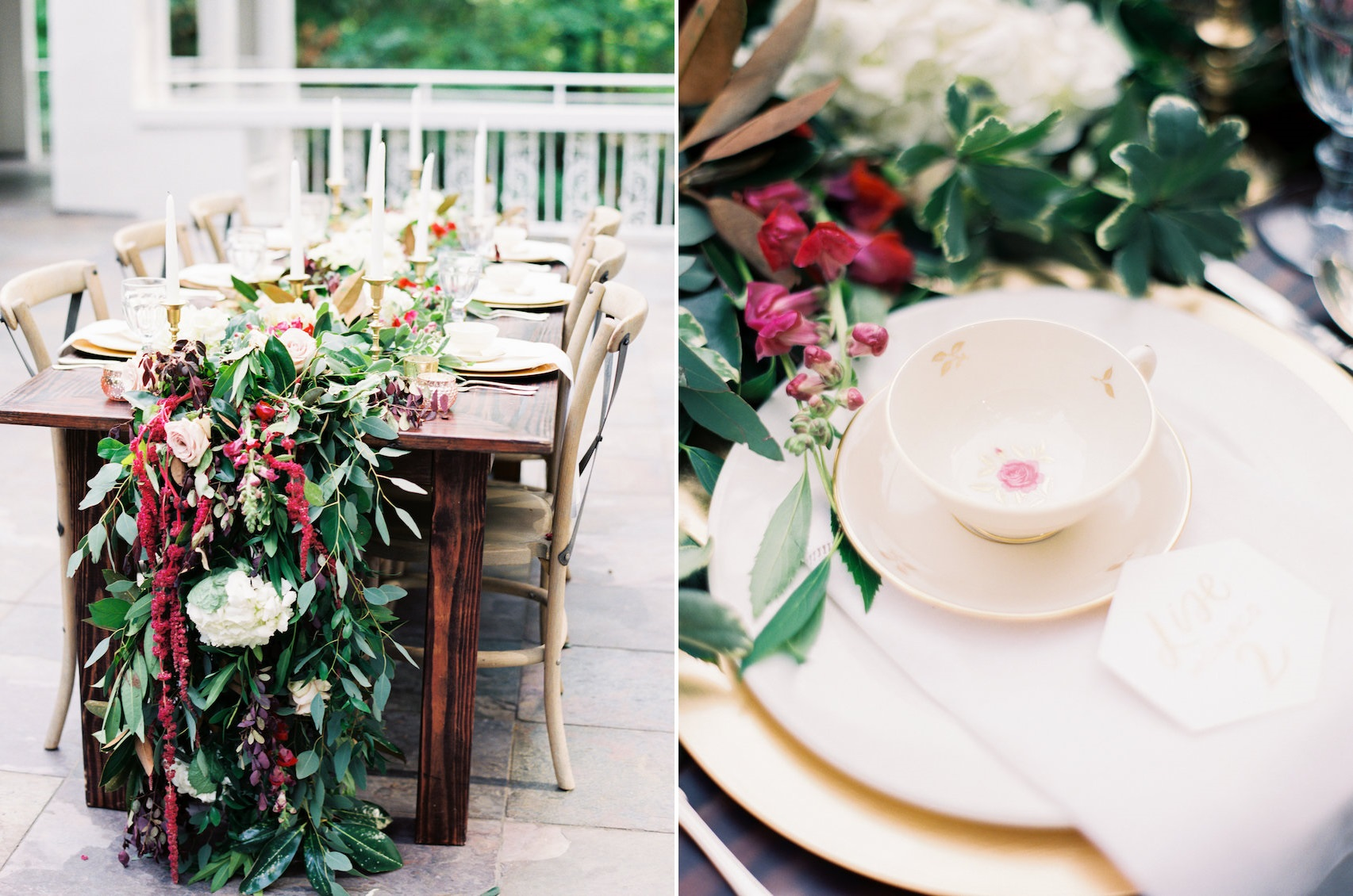 Vintage Marsala Wedding Table