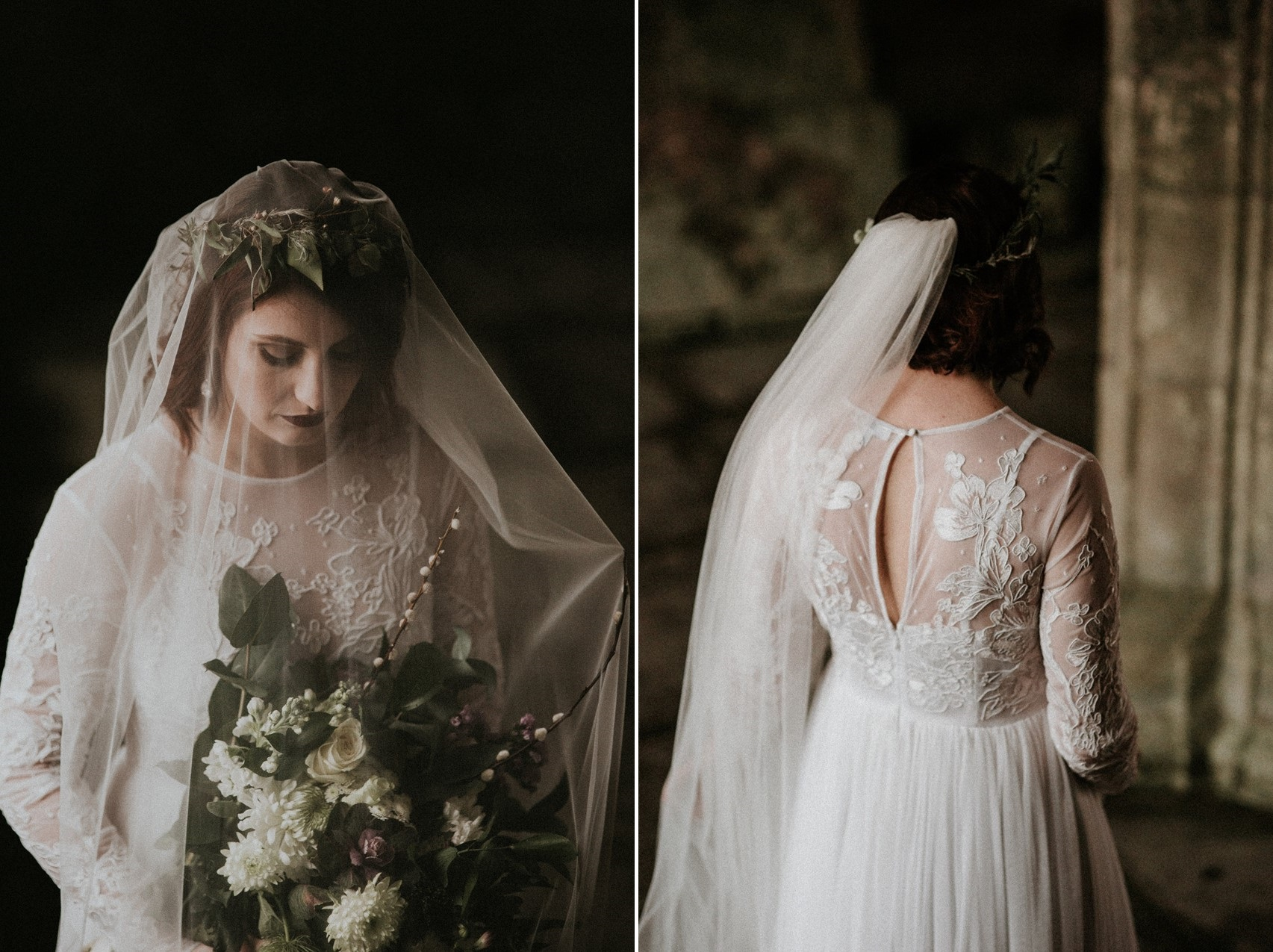 Gothic Bridal Shoot at an English Abbey
