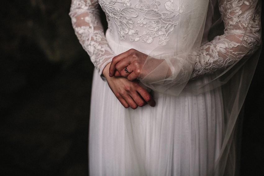 Long Sleeve Wedding Dress & Vintage Engagement Ring