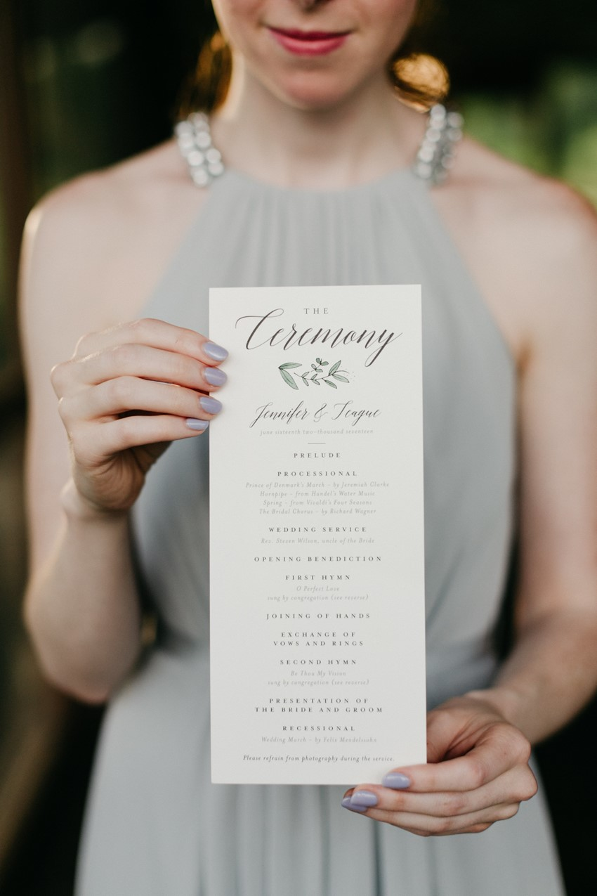 Watercolor Greenery Wedding Ceremony Program
