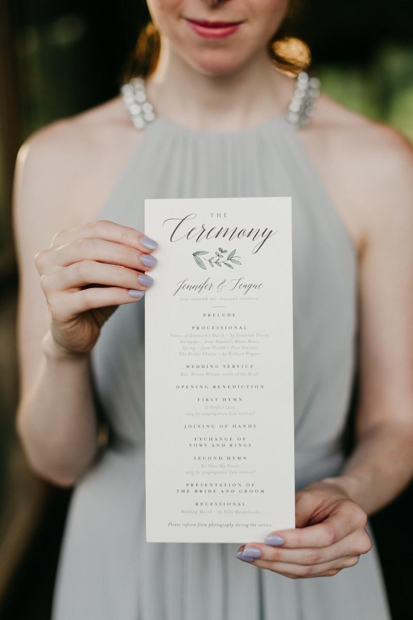 Watercolor Greenery Wedding Ceremony Program