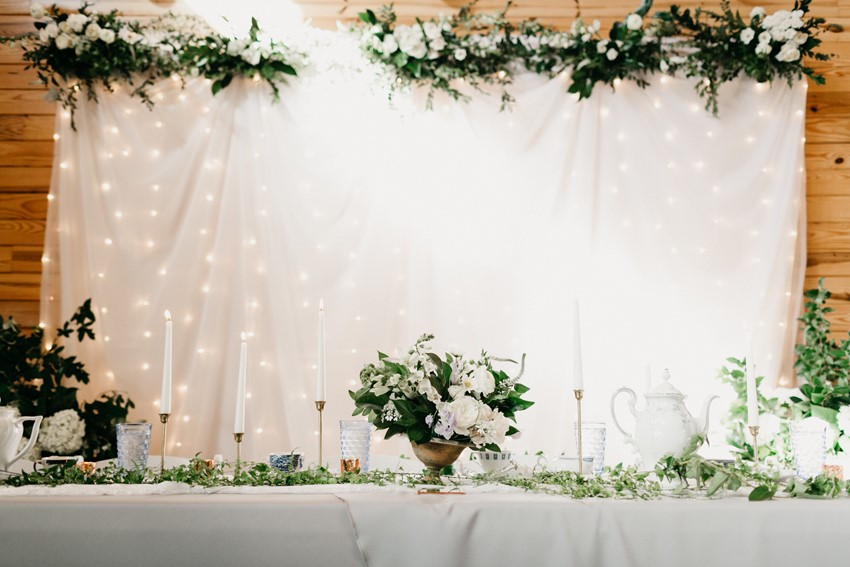White & Greenery Wedding Top Table
