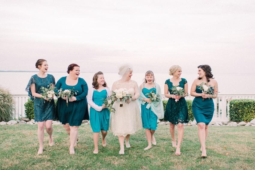 Mismatched Teal Bridesmaids