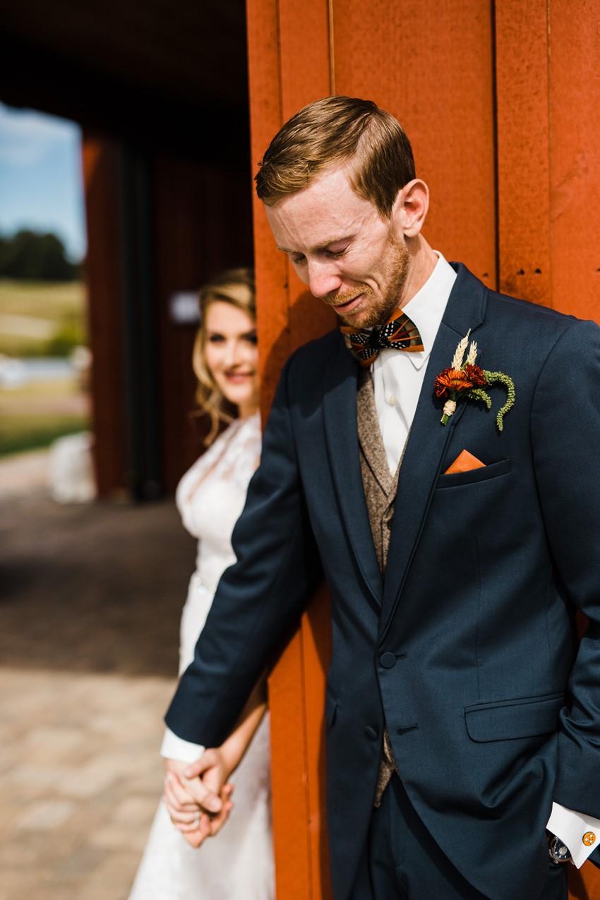 Rustic Vintage Wedding First Look