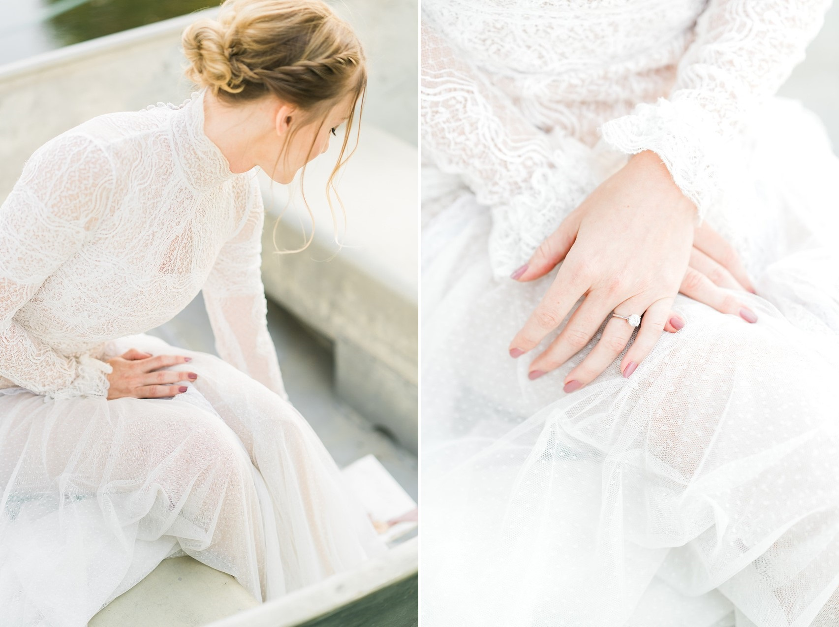 Long Lace Sleeved Wedding Dress & Engagement Ring