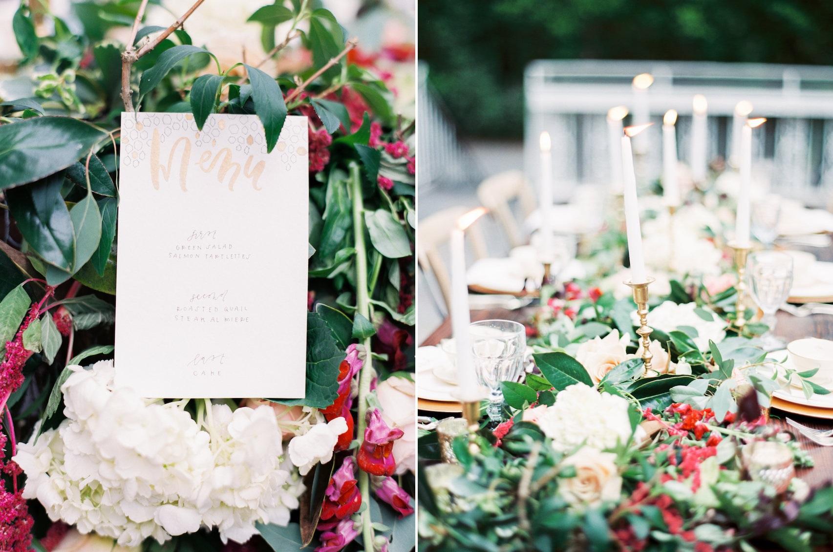 Romantic Wedding Table Menu & Candle Centerpiece