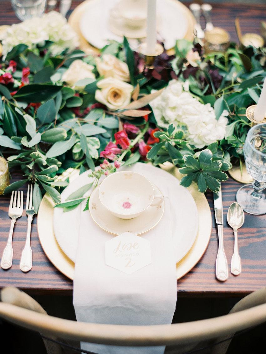 Gold & Marsala Wedding Place Setting
