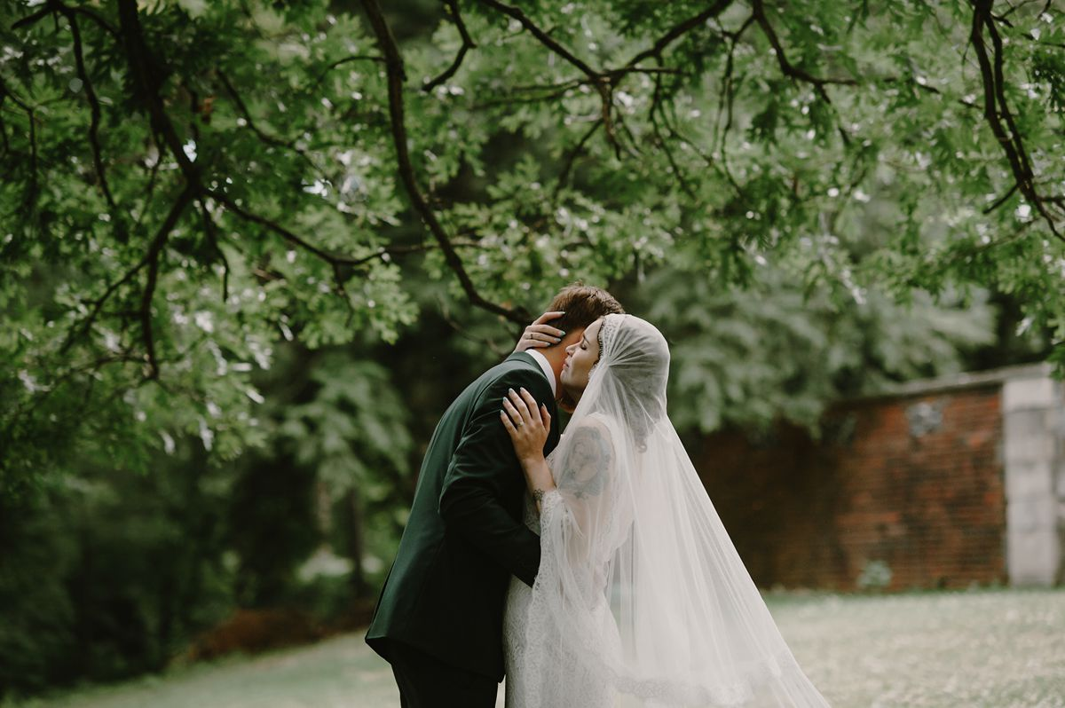Vintage Groom & Bride in Juliet Cap Veil