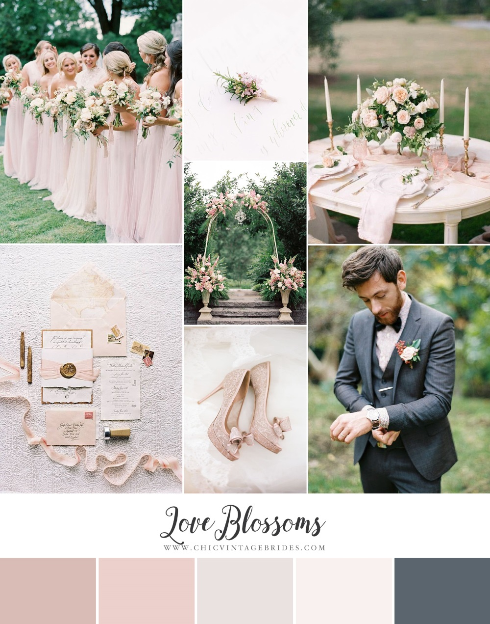 Love Blossoms - Spring Wedding Inspiration in a Pretty Palette of Pinks & Dusky Blue