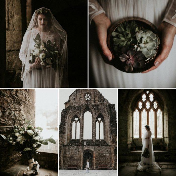 Snowy Winter Bridal Shoot at an Historic British Abbey