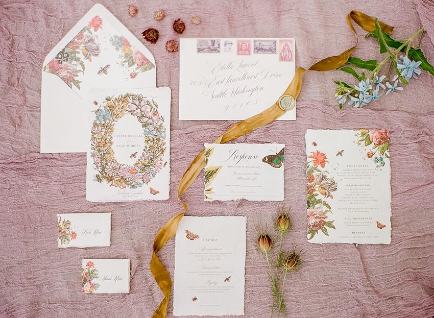 Floral Vintage Wedding Stationery Suite