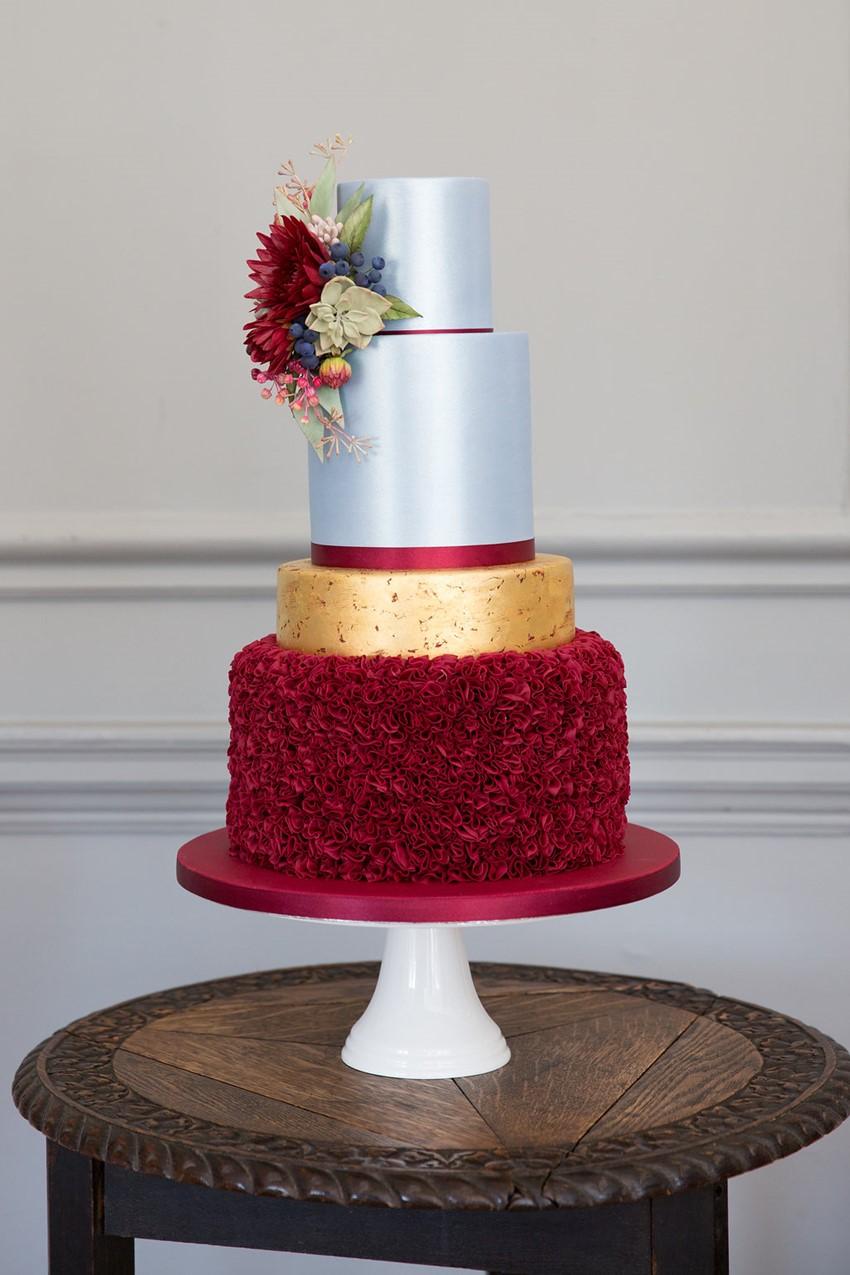 Blue & Garnet Wedding Cake