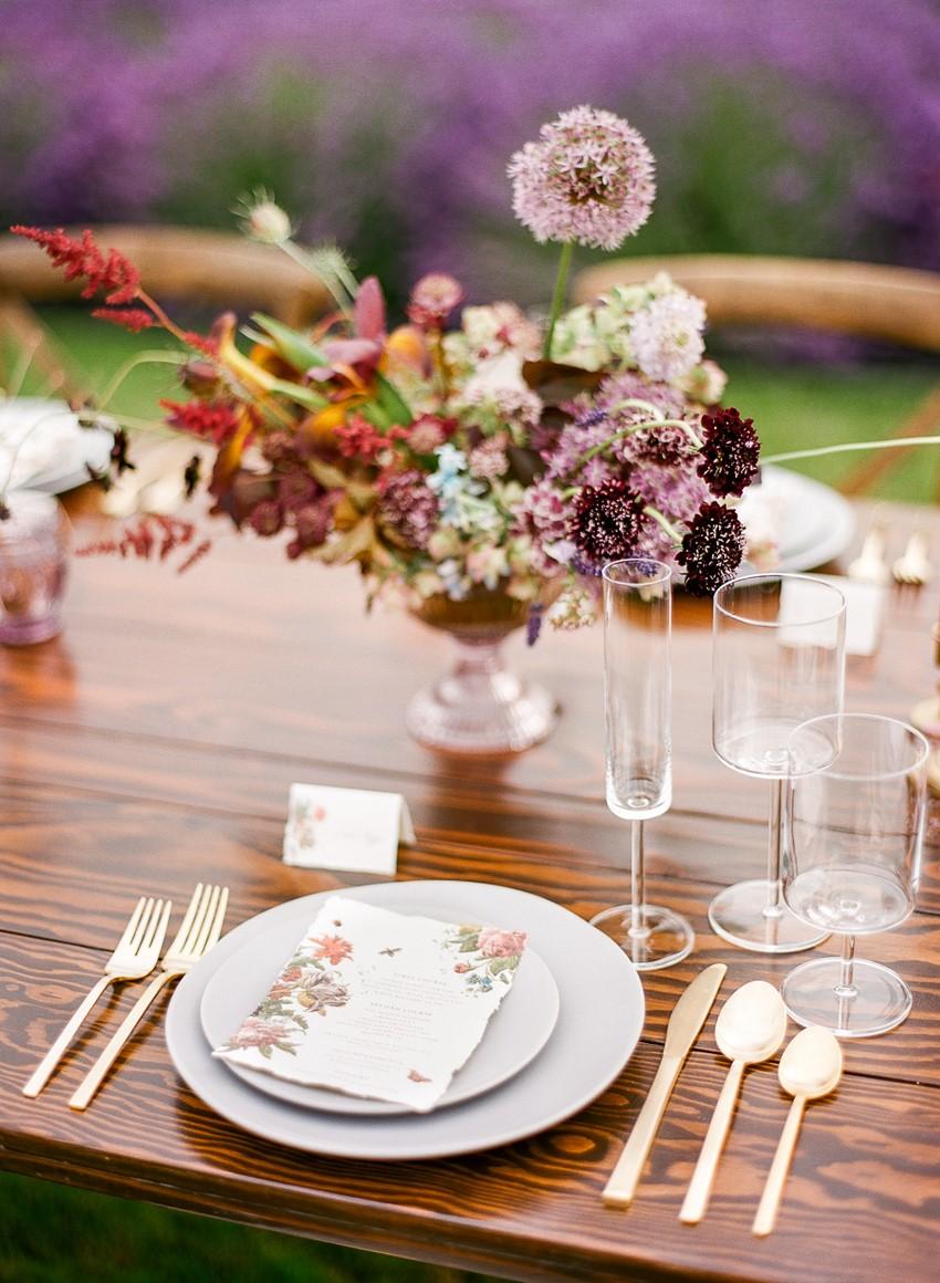 Woodinville Lavender Farm Wedding Place Setting