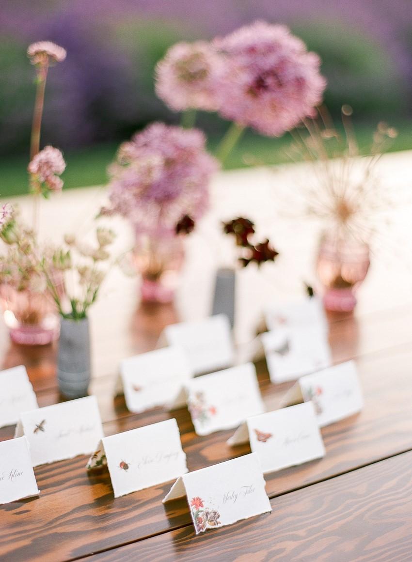 Woodinville Lavender Farm Wedding Escort Cards