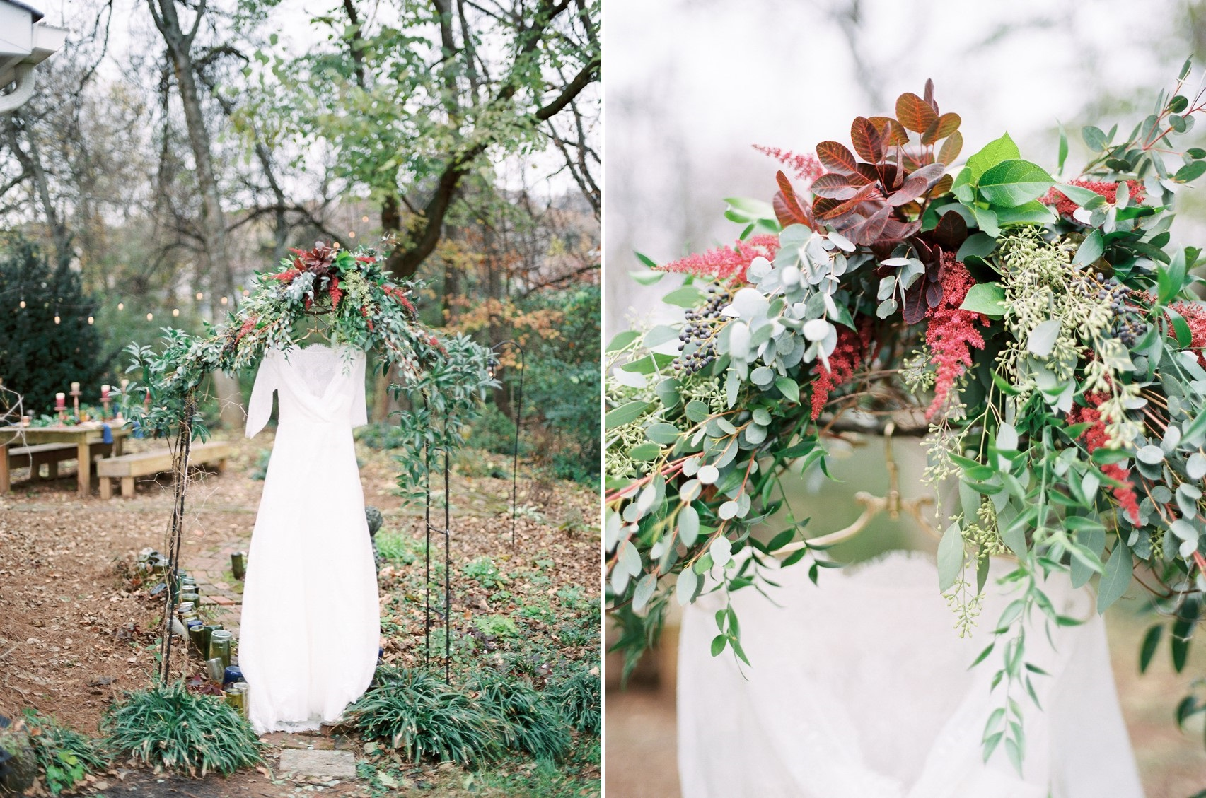 Winter Wedding Dress & Floral Arch