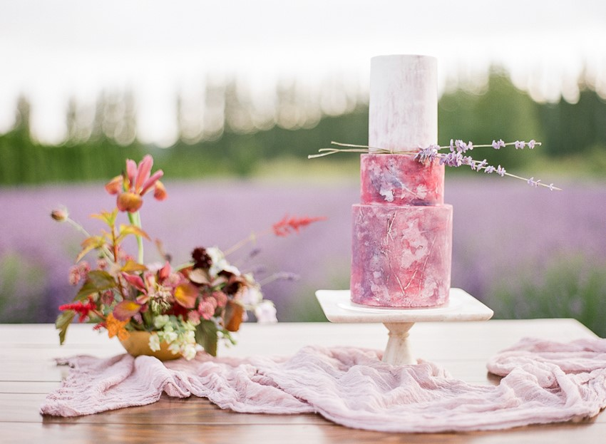 Woodinville Lavender Farm Wedding Cake