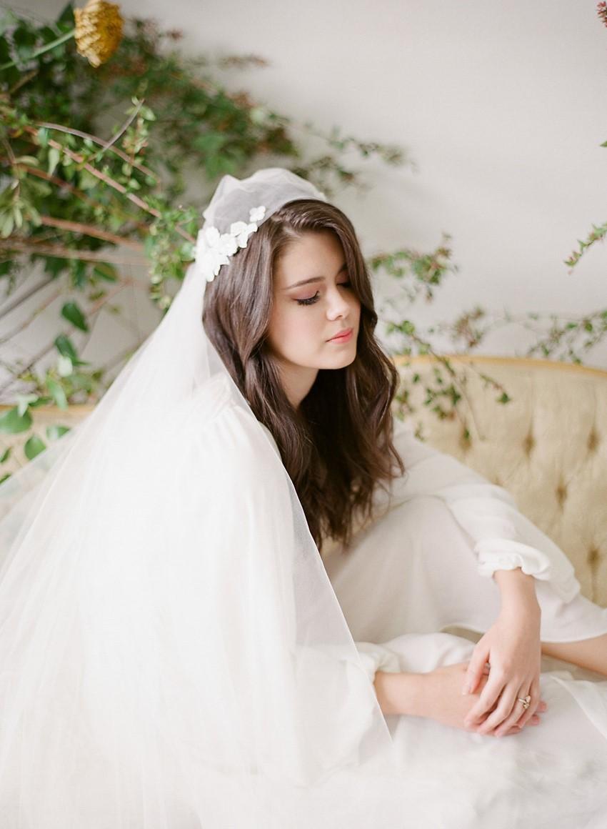 Fine Art Bride in a Juliet Cap Veil