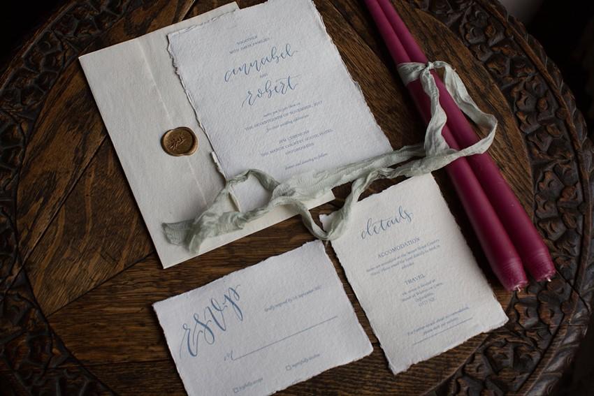 Vintage Calligraphy Wedding Invitation