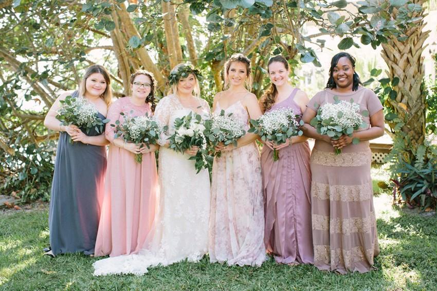 Bride & Mismatched Bridesmaids